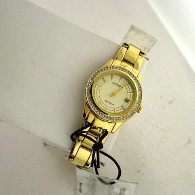 Citizen Gold Tone Dial Stainless Steel Link Eco-Drive Ladies Watch WR FE1122-53P ()