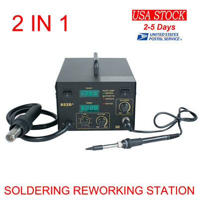 2in1 Soldering Station Rework Hot Air Iron Desoldering Esd Design 3 Nozzles