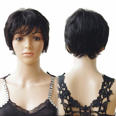 100% Human Hair Full Wig Color 1B Short Style Peruca Cabelo Humano Curto Preto comprar usado  Enviando para Brazil