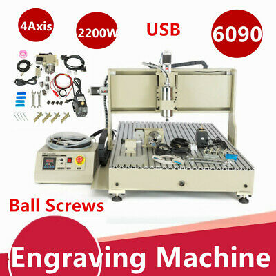Usb 4axis Cnc 6090 Router Metal Engraver Milling Drilling Cutting Machine 2.2kw