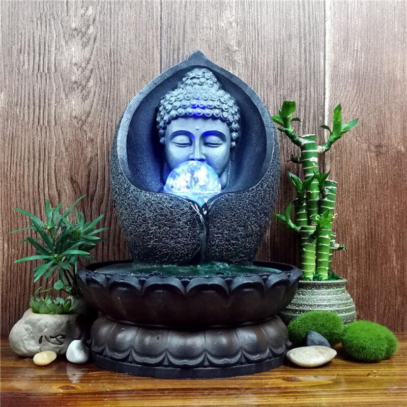 Handmade Buddha Statue Desktop Waterfall Fountain Office Feng Shui Statue LED