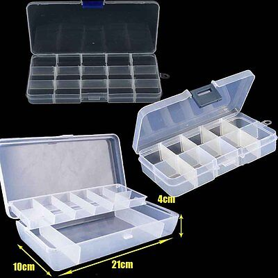 10/15 Compartment 2 Layer Plastic Adjustable Organizer Storage Jewelry Box Case