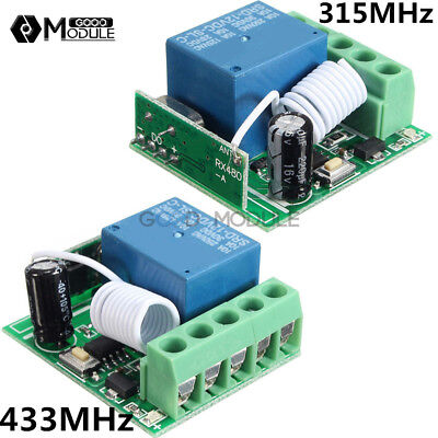 12V 315/433MHz 1 Channel Wireless Relay Switch RF Remote Control Receiver