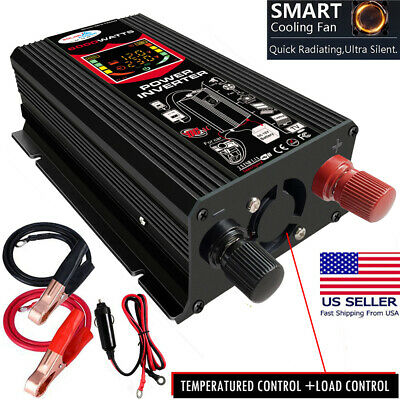 6000W Power Inverter DC 12V to AC 110V Car Sine Wave Converter 2 USB Modified US