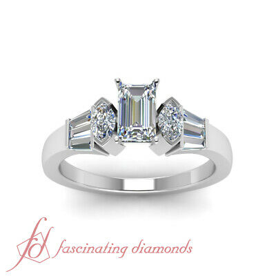 1 Carat Emerald Cut White Gold Diamond Engagement Rings For Women GIA Certified 1
