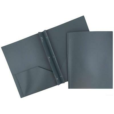 Jam Paper Eco-friendly Poly Plastic Two Pocket Folders W Clasps Grey 12 Pack