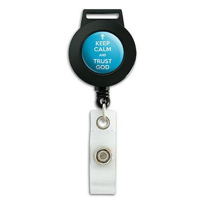 Keep Calm And Trust God Christian - Lanyard Retractable Badge ID Card Holder (Christian Lanyards)