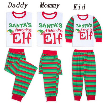 USA Family Matching Christmas Pajamas PJS Set Santa Elf Xmas Sleepwear Nightwear (Matching Family Pajamas Christmas)