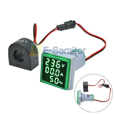 3 In 1 Ac 60-500v 0-100a Voltmeter Ammeter 22mm Green Led Digital Volt Amp Meter