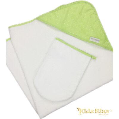 3 Sets Kidz Kiss Velour Hooded Towel with Mitt/Bag/Washcloth [Petit Dots/ Green]