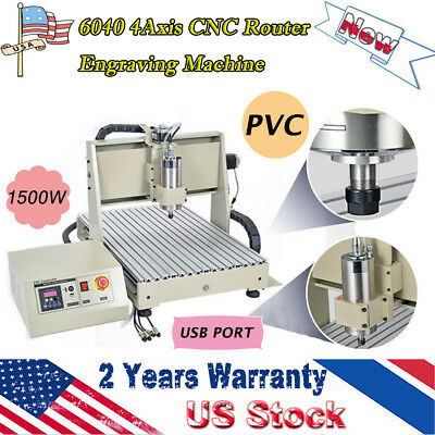 Hot 4axis Cnc 6040t Router Engraving Machine 1.5kw Drilling Milling Usb Pvc Wood