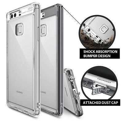 Fusion Cover (Huawei P9 Case, Ringke [FUSION] Shockproof Protective Clear Cover Raised Bezels )