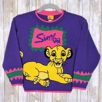 Vtg Simba Lion King Sweater Youth Small 7/8 RARE Vintage Knit Crewneck