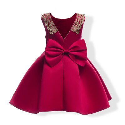 Childrens Kids Girls Fancy Red Lace Gold Sparkly Dress Bow Valentines Day K48 - Gold Childrens Dress