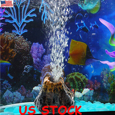Air Pump Volcano Shape Ornament for Aquarium Air Bubble Stone Fish Tank Decor US (Fish Ornaments)