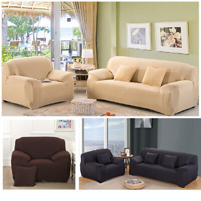 1 2 3 4Seater Stretch Elastic Fabric Sofa Cover Sectional Corner Couch Covers US
