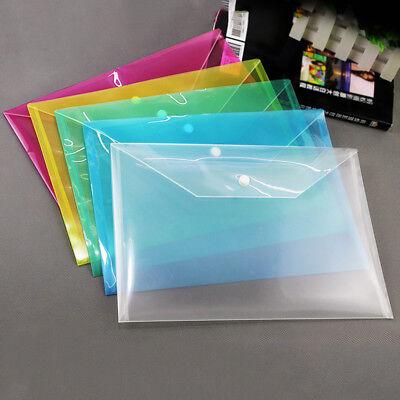 Lot A4 Plastic Envelope Stud Document Wallet Folders File Filing Storage Pouch