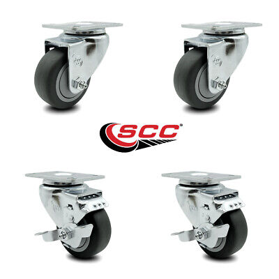 Thermoplastic Rubber Top Plate Swivel Caster Set 4 - 3 Wheels - 2 Wbrakes