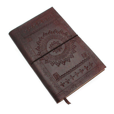 (Fair Trade Handmade Eco Friendly Chocolate Brown Embossed Leather Journal Diary)