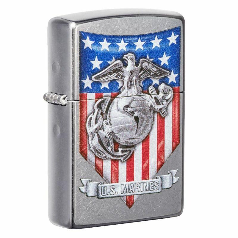 Zippo U.S. Marine Corps. Crest and US Flag Street Chrome Pocket Lighter, 49317