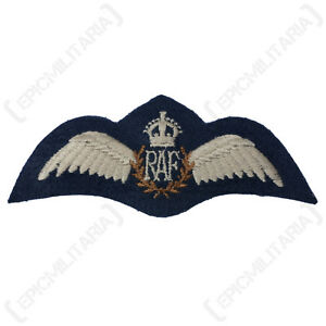WW2 British ROYAL AIR FORCE WINGS - Quality RAF Pilot Padded Uniform Patch Badge