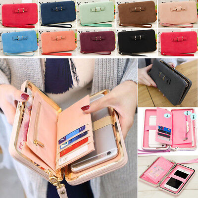 Large Womens Wallet (Womens Large Capacity Bowknot Wallet Long Purse Phone Card Holder Clutch Pocket )