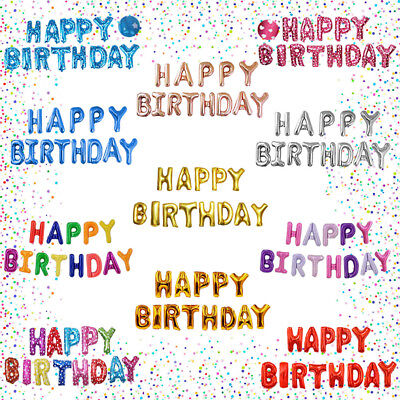 13 tlg Happy Birthday Folienballons Buchstaben Luftballons Geburtstag Deko Party ()