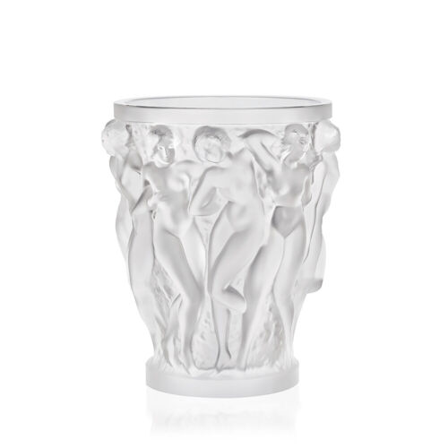LALIQUE CRYSTAL BACCHANTES SMALL VASE #10547500 BRAND NIB FROSTED NUDE WOMEN F/S