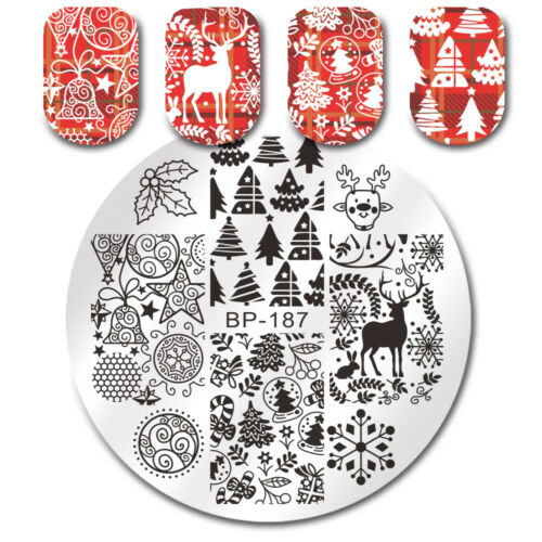 BORN PRETTY Round Stamping Plates Xmas Tree Jingle Bell Deer Nail Art Manicure