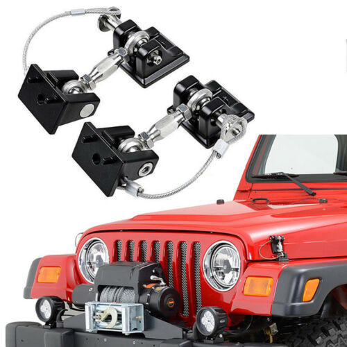 Silver 2pcs Aluminum Hood Catch Latches Kit For 2007-2017 Jeep Wrangler JK /& Unlimited