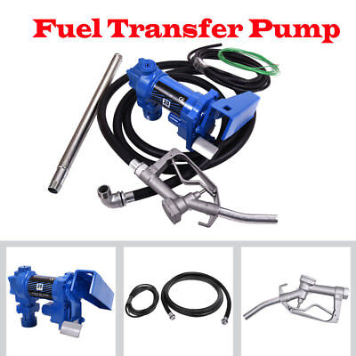 Fuel Transfer Pump 12 Volt 20 Gpm Diesel Gas Gasoline Kerosene W Nozzle Kit