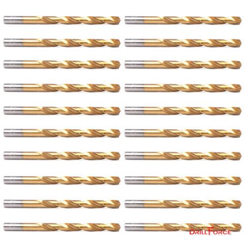 """20-piece 1/8"""" Round Shank HSS Titanium Coated Twist Drill Bi"""