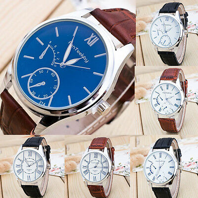 Luxury Men's Sport Dial Leather Band Military Stainless Steel Quartz Wrist Watch