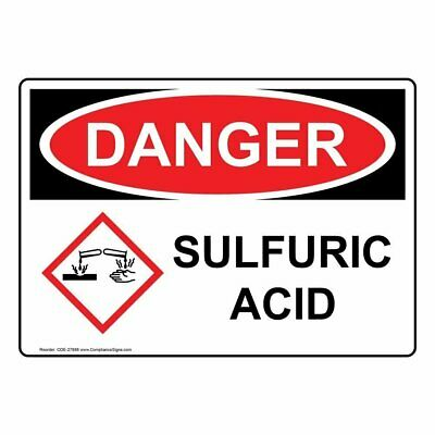Compliancesigns Aluminum Osha And Ghs Danger Sulfuric Acid Sign 14 X 10 In...