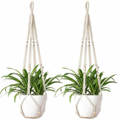 2X Macrame Plant Hangers Indoor Hanging Basket Flower Pot Holder Cotton Rope USA Hanging Basket Hangers