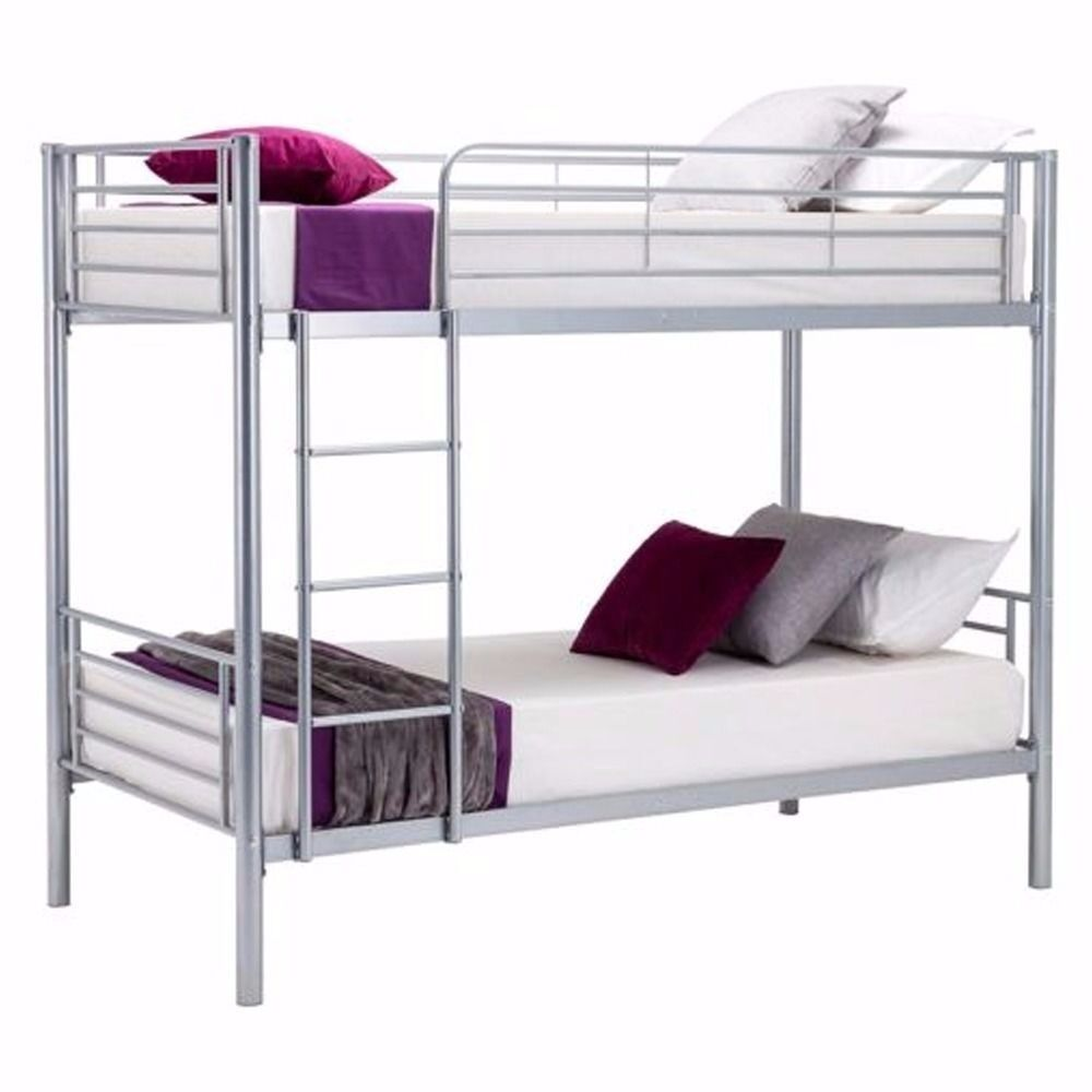 Twin Single Bunk Bed Frame Silver 3ft Bed Childrens Twin Metal