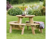 80CM CIRCULAR ROUND SOLID TANALISED WOODEN 4 SEATER PICNIC/PATIO TABLE ZEST 4 LEISURE BNWT RRP £229!