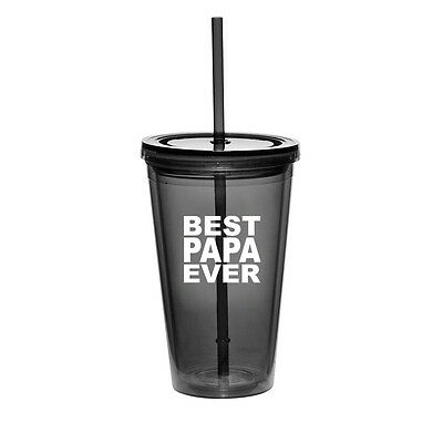 16oz Double Wall Acrylic Tumbler Pool Beach Cup With Straw Best Papa (Best Straw Cups)