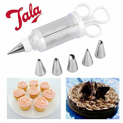 Tala Icing Syringe Set Baking 6 Nozzles Cup Cake Biscuit Cream Easy Decoration