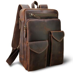 Men Vintage Leather Backpack 14