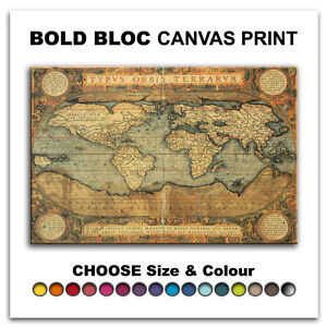 Old-World-Atlas-MAPS-Canvas-Art-Print-Box-Framed-Picture-Wall-Hanging-BBD