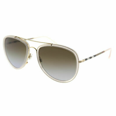 Burberry BE 3090Q 1246T5 Pink Brushed Gold Sunglasses Brown Gradient (Pink Polarized Aviators)