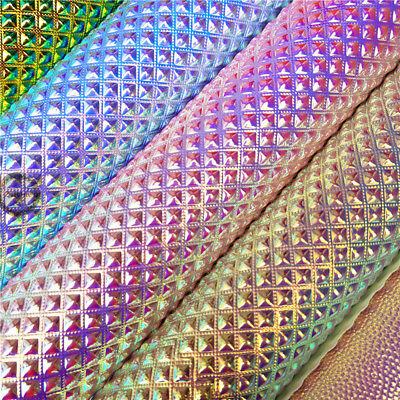 Metallic Iridescent Faux Leather Fabric Holographic Vinyl Crystal Crafts