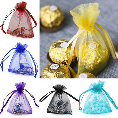 100/200 Organza Drawstring Wedding Party Favor Gift Candy Bags Jewelry Pouches