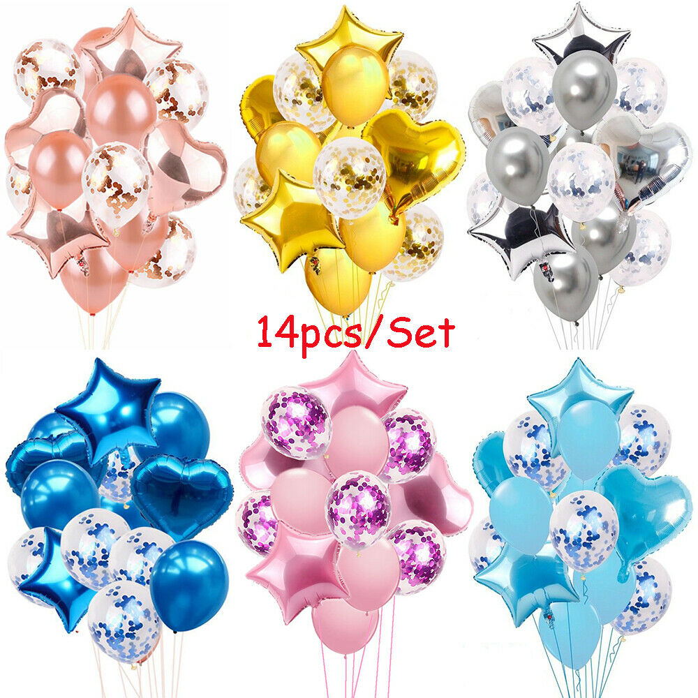 14pcs Happy Birthday Balloons Baby Shower Party Decoration Latex Foil Ballons UK