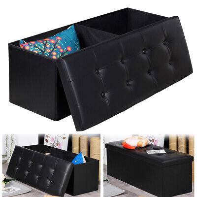 PU Leather Cube Ottoman Pouffe Storage Box Lounge Seat Footstools Hinge 76*38*38 ()
