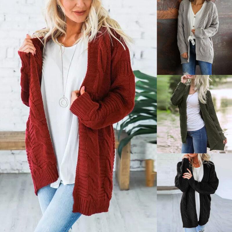 Women's Long Sleeve Cardigan Knitted Jacket Sweater Coat Outwear Knitwear Coat