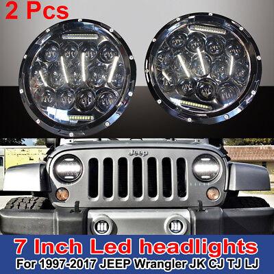 "2x 7"" Round 150W Total CREE DRL LED Headlights For 97-17 JEEP Wrangler JK TJ YJ"