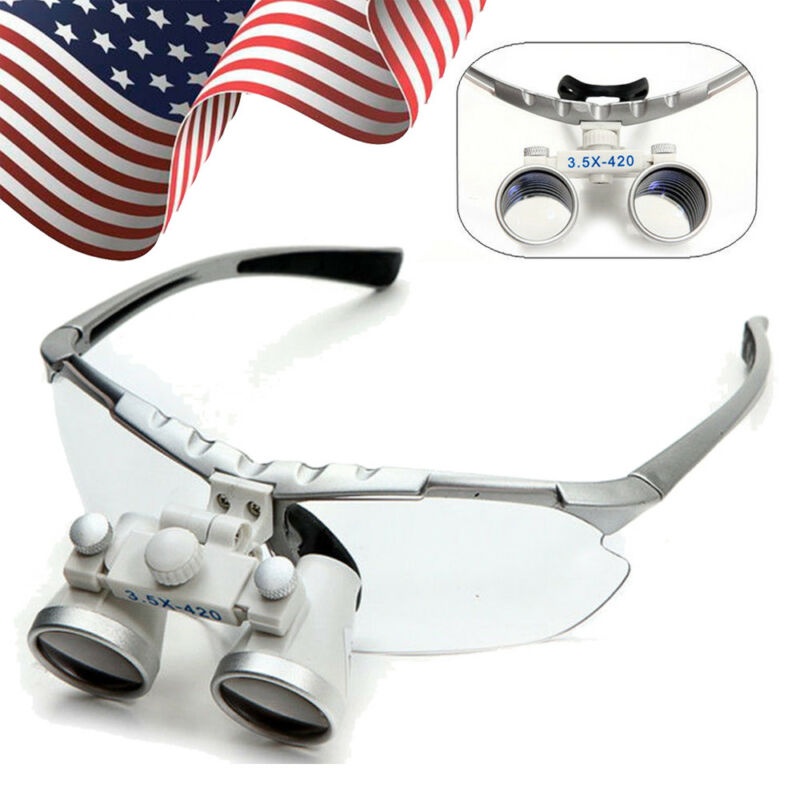 USA* Dental Surgical Medical Binocular Loupes 3.5X 420mm Optical Glass Magnifier