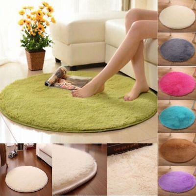 Soft Bath Bedroom Floor Shower Round Coral Fleece Mat Non-sl